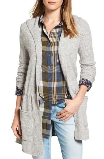 Free shipping and returns on Caslon® Hooded Cardigan (Regular & Petite) at Nordstrom.com. A softly structured, thigh-grazing cardigan keeps you cozy with a generous face-framing hood and roomy patch pockets for warming cold fingers.