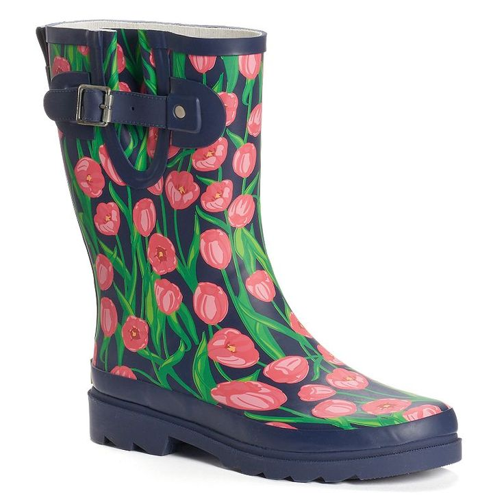 Western Chief Women's Graphic Print Water-Resistant Rain Boots, Size: 10, Med Blue