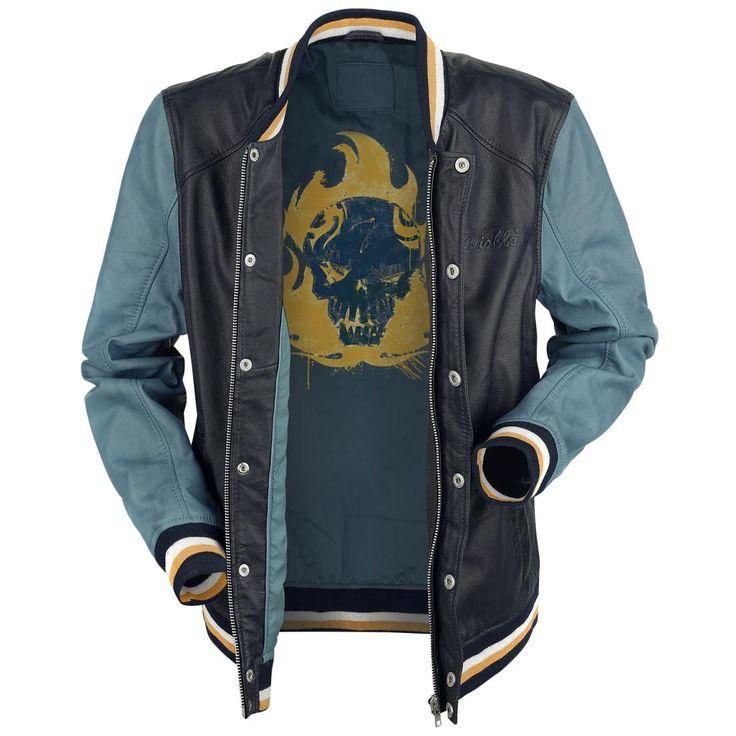 """Suicide Squad - El Diablo  - lederen jas - college jacket style - meerdere kleuren - zomen met blauw-geel-witte strepen - verborgen rits met drukknopen - twee side-on zakken met drukknopen - gegraveerd """"Diablo"""" logo op de linkerborst - grote schedelafdruk aan de achterkant - drie binnenzakken, waarvan 1 met rits, 1 met klittenband en 1 geborduurd"""