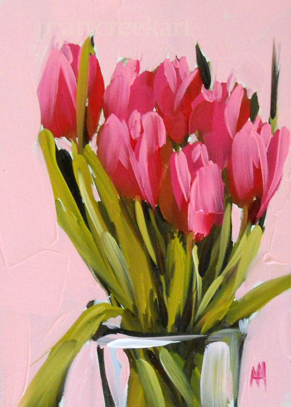pink tulips bouquet original still life flower oil painting by moulton 5 x 7 inches prattcreekart