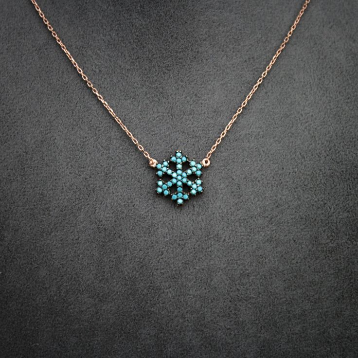 Snowflake Necklace, Womens Necklace, Christmas Gift, Rose plated 925 Silver Snowflake Necklace, Snowflake Jewelry, Pendant, Mothers Day Gift by JuniperandEloise on Etsy
