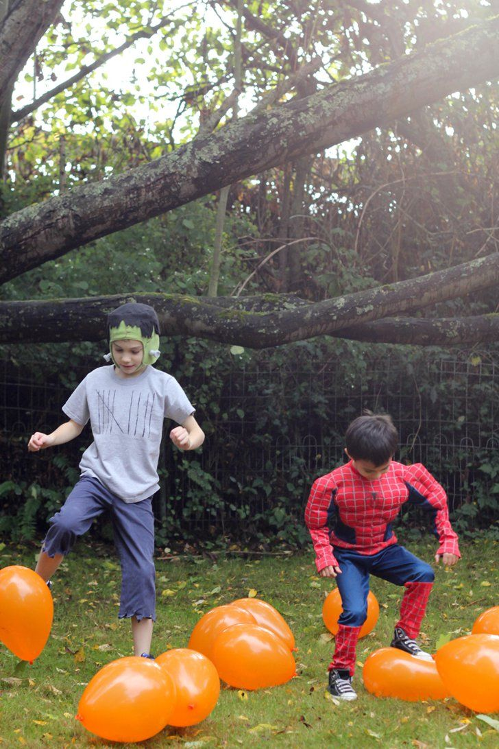 16 DIY Outdoor Halloween Party Game Ideas Pumpkin Patch Stomp The kid who can stomp the most in a certain amount of time wins! Trust us — it's harder than it sounds. See the pumpkin patch stomp game.