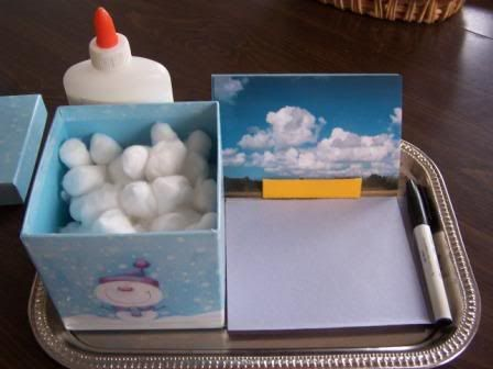 Simple Cloud Kit: A box of cotton balls, some glue, some blue paper squares, a set of cloud identification cards, and a pen for labeling.
