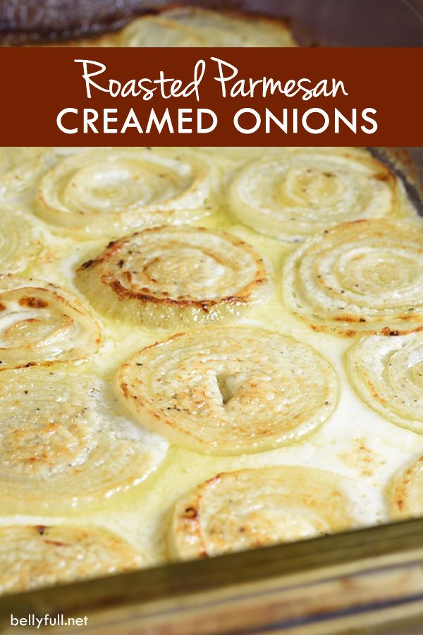 Onion rings are roasted in a Parmesan, cream, and wine bath making every bite absolutely luscious!