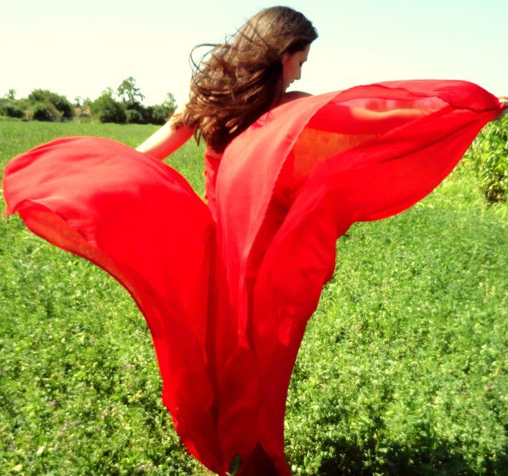 Red Dress. Green Grass