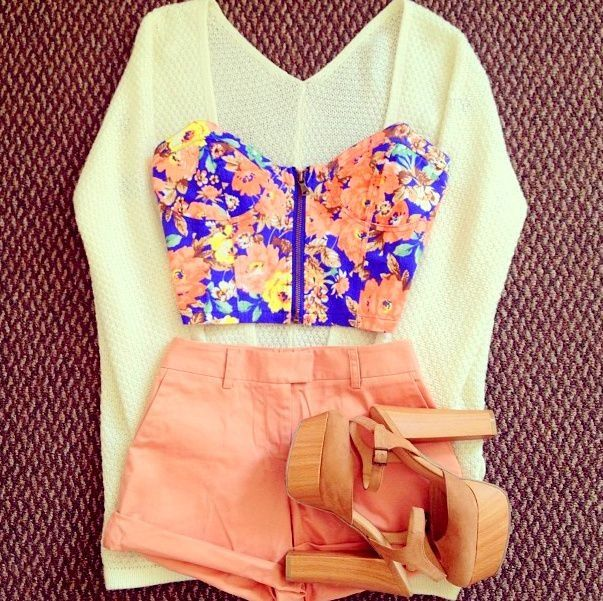 Floral crop top + high waisted shorts