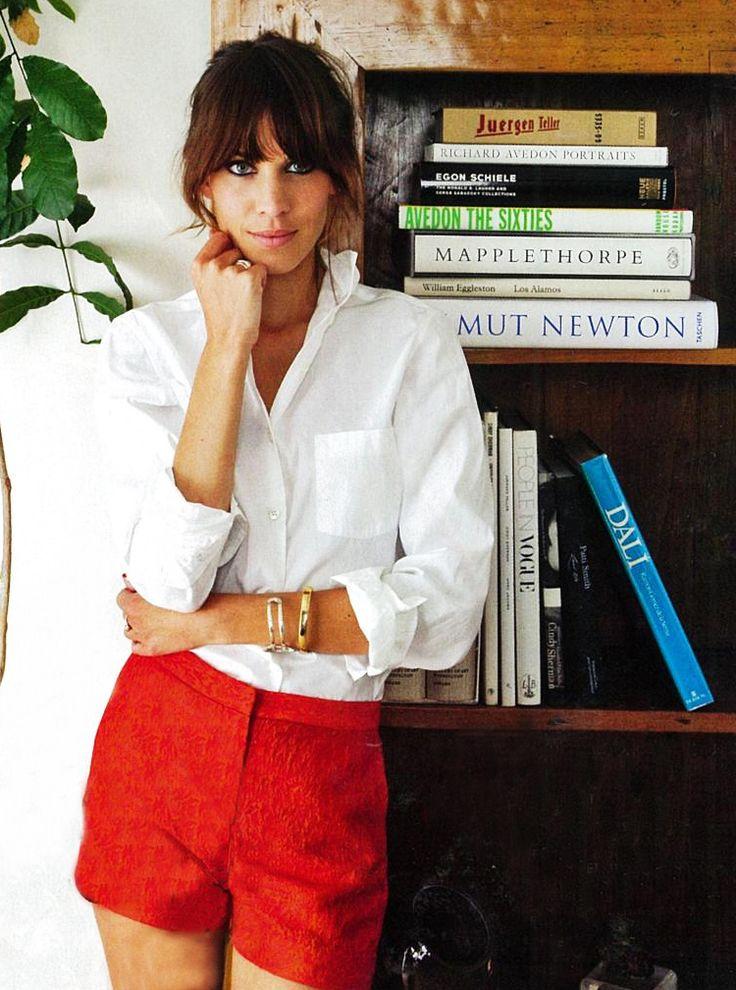 alexa chung - white button-down & red shorts