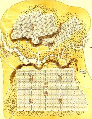 vintage city of Adelaide map • Adelaide city • South Australia • 1840 • Colonel William Light • Adelaide's icons
