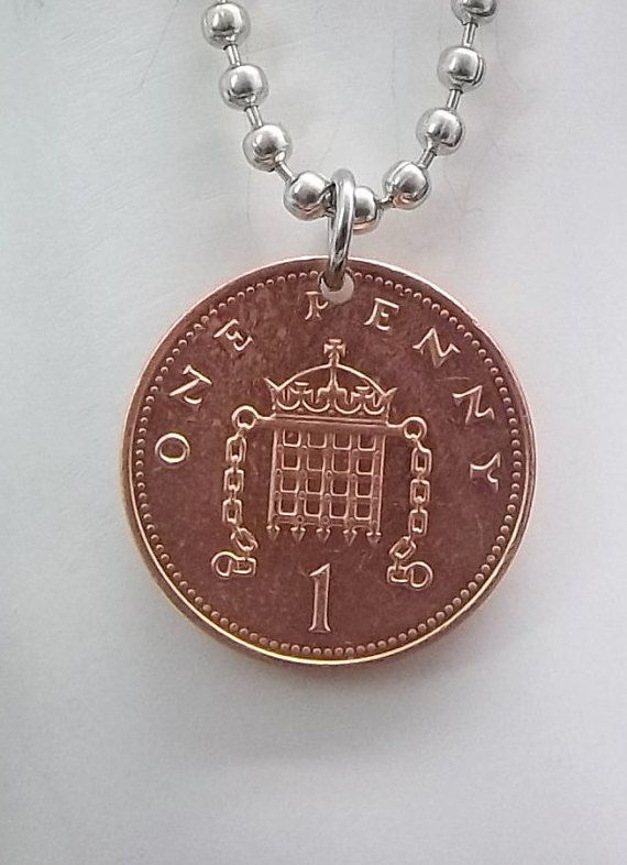 Coin Necklace England 1 Penny Coin Ball by AutumnWindsJewelry