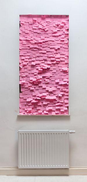 post-it's as artwork. In a photo, it looks like genius, but would it hold up in person? And what color (cause pink certainly wouldn't be my choice).