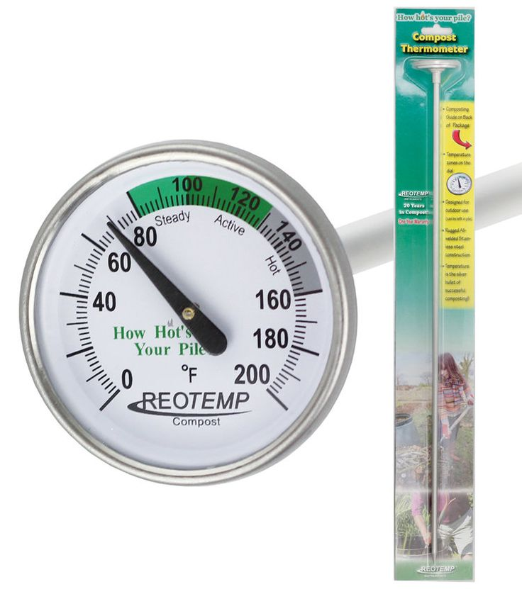 REOTEMP Backyard Compost Thermometer with packaging