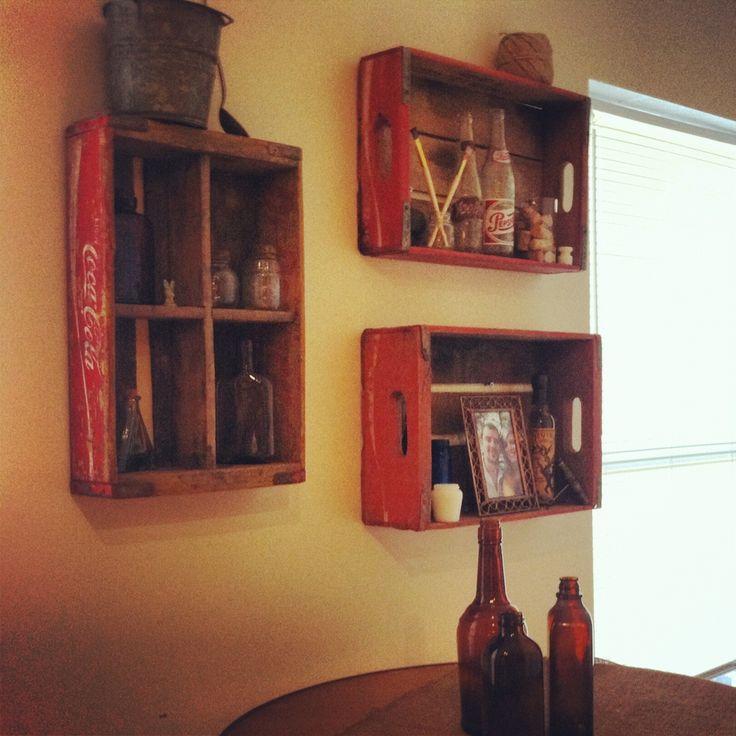 Coca Cola crates as shelves!