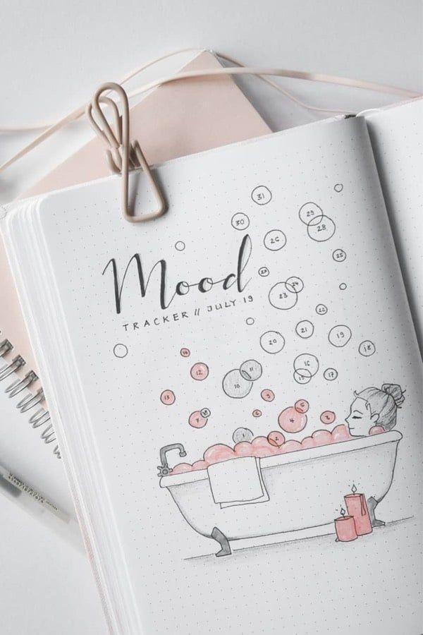 30+ Beste August Mood Tracker Ideen für Bullet Journals