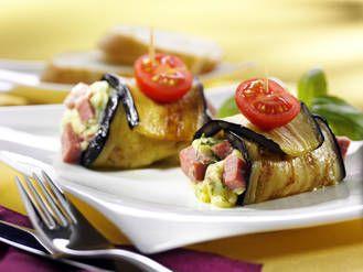Aubergine mit Kartoffel-Fleisch-wurstfüllung