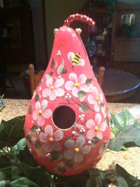 pink gourd bird house