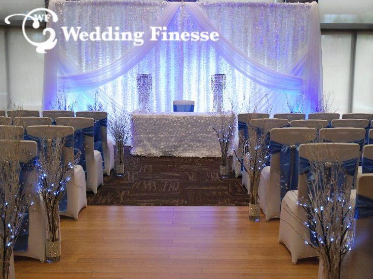Winter Wedding Inspiration. Blue and White wedding decor.