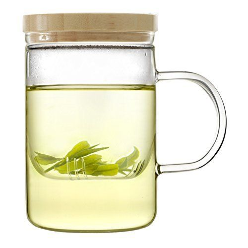 Emoi 15oz Teapot, Pyrex Glass Brewing Tea Cup, Tea Infuser Mug, Premium Loose Leaf Flower Tea and Coffee Maker with Infuser Strainer, Bamboo Lid, Heat Resistant, Easy to Brew and Clean. - http://teacoffeestore.com/emoi-15oz-teapot-pyrex-glass-brewing-tea-cup-tea-infuser-mug-premium-loose-leaf-flower-tea-and-coffee-maker-with-infuser-strainer-bamboo-lid-heat-resistant-easy-to-brew-and-clean/