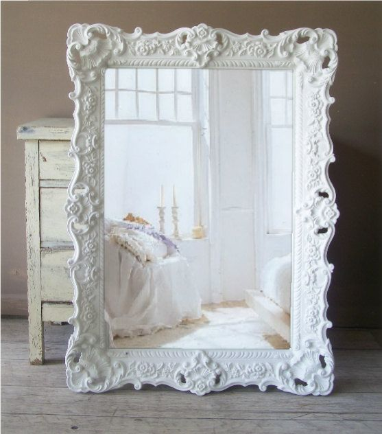 White Baroque Mirror, Large Shabby Chic Mirror, Vintage. $359.00, via Etsy.