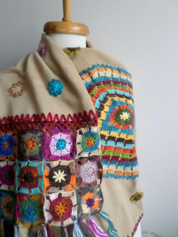 Beige Shawl Crocheted Flowers on Polar Cloth OOAK от crochetlab