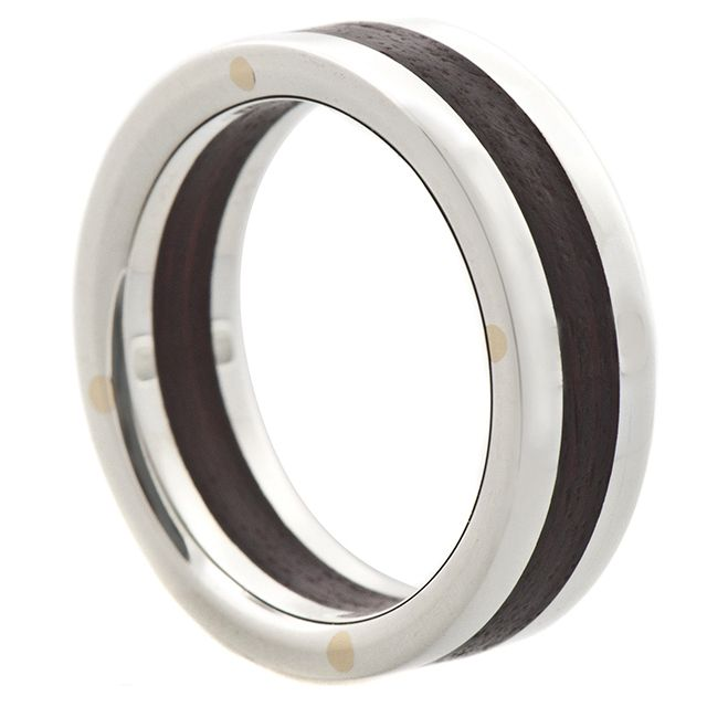 Silver and Wood Rivet Band   Sterling silver and brushed Brazilian wood. These rings are assembled with 10k gold rivets.Comfort fit inside. 6mm width.     $330