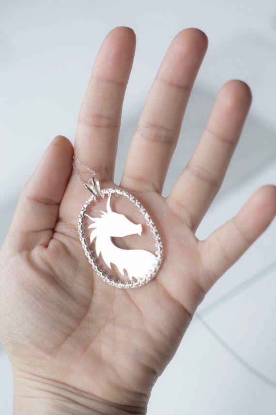 Dragon Silhouette Cameo Pendant ~ Sterling Silver Fantasy Pendant Necklace