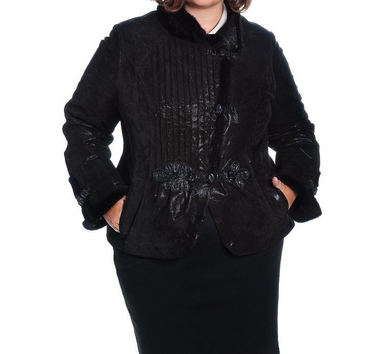 Замшевая куртка. Детали: http://emerald-magazin.ru/item/89-uteplennaya-kurtka-iz-myagkojj-zamshi-s-norkovojj-otdelkojj-adelina  #leather #jacket #mink #plussize