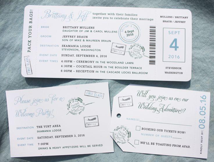 137 best Wedding Invitation Ideas images on Pinterest Invitation - plane ticket invitation template
