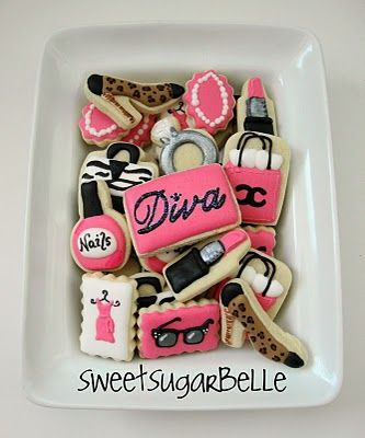 Diva cookies for Glamour girl party