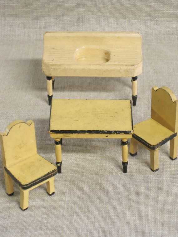 dollhouse furniture antique kitchen table chairs sink painted wood dollhouse
