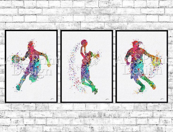 Set of 3 prints Basketballl prints Watercolor Prints Sports Print Girls room  #Watercolor