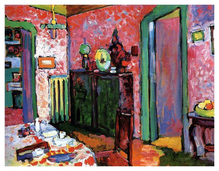 Interior (My dining room), 1909, Wassily Kandinsky > cette année la il va à Paris et rencontre MATISSE + mais pas que matissien + aussi Paul KLEE (la TACHE le fascine tjrs)