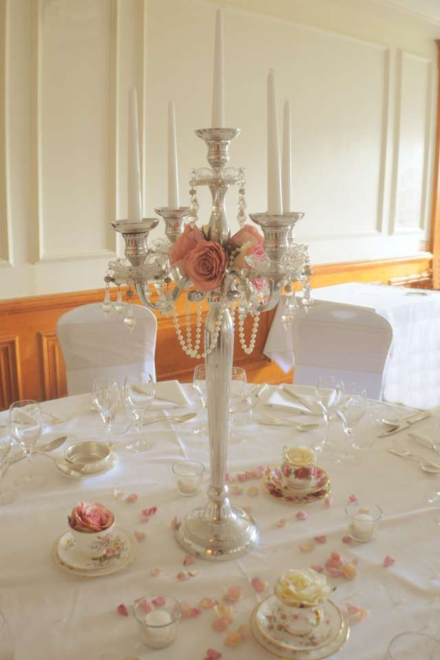 Vintage style candelabra with crystals and pearls