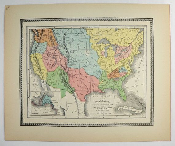 Native American Indian Nations Vintage Map Of Aboriginal - Map of indian nations in the us