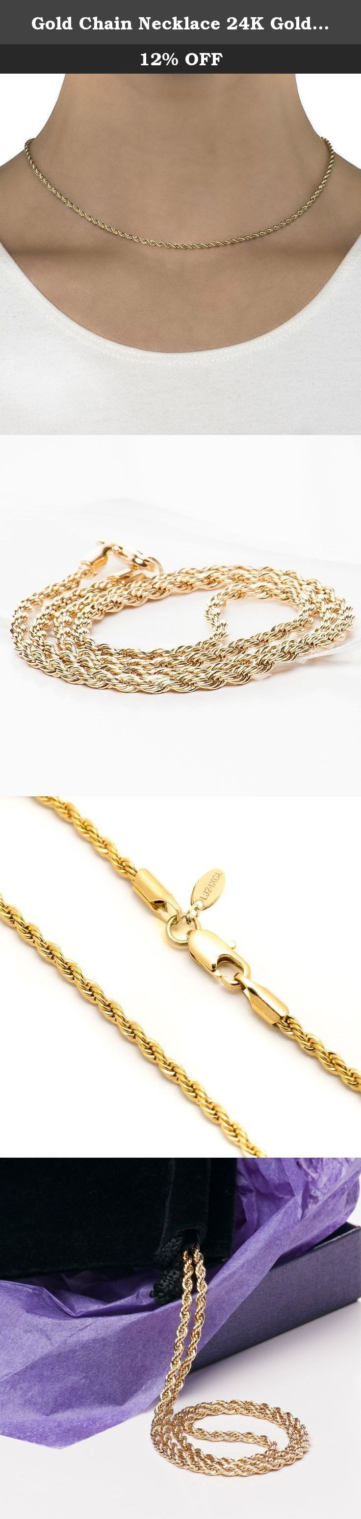 """Gold Chain Necklace 24K Gold Overlay USA Made LIFETIME WARRANTY, 30x Thicker than plated, 2 MM Wide Gold Rope Chain, Men & Women Tarnish Resistant 16""""-30"""", Lobster Clasp, Look of Solid Gold (20""""). Be the most stunning person in the crowd when you wear this Rope Chain Necklace by Lifetime Jewelry ! Coated with 24-karat gold over a heart of semi-precious metals, this rope chain necklace is stunningly beautiful. It looks charming on anyone and is perfect to wear on any occasion. This rope…"""