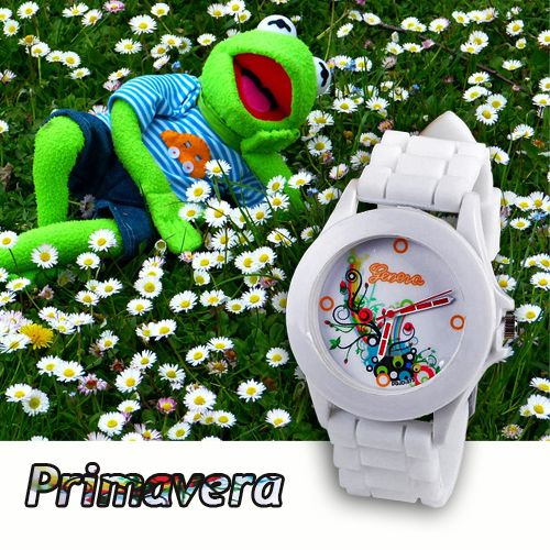 Watch for sporty girls. Made in silicone, white with colorful decorations on the dial.