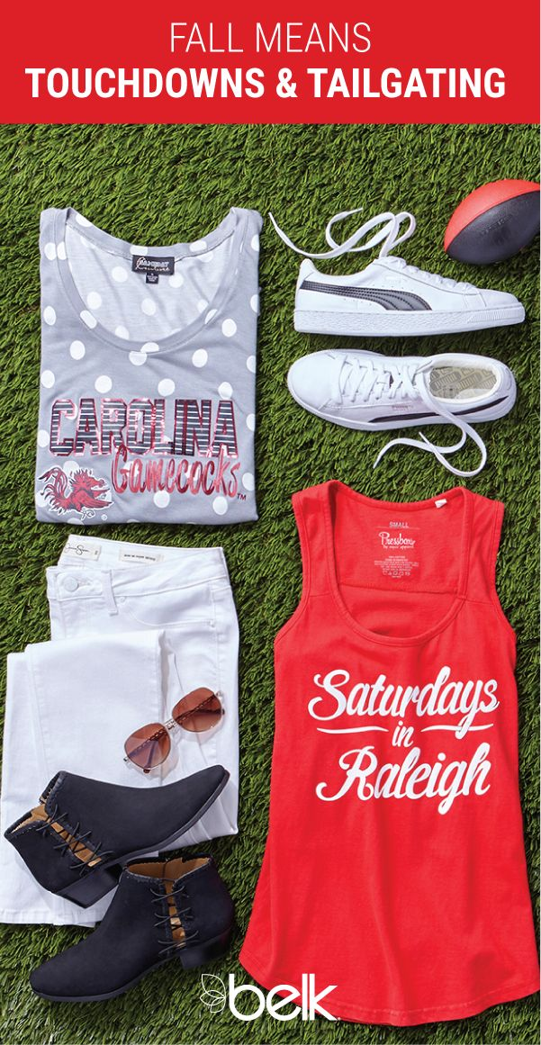 Saturdays in the South are meant for tailgating, and Belk has tons of young contemporary game day styles to help you look the part. Root for your team and show off your school spirit with a variety of collegiate t-shirts, sweatshirts, handbags and accessories. Shop game day gear in stores or online at belk.com.