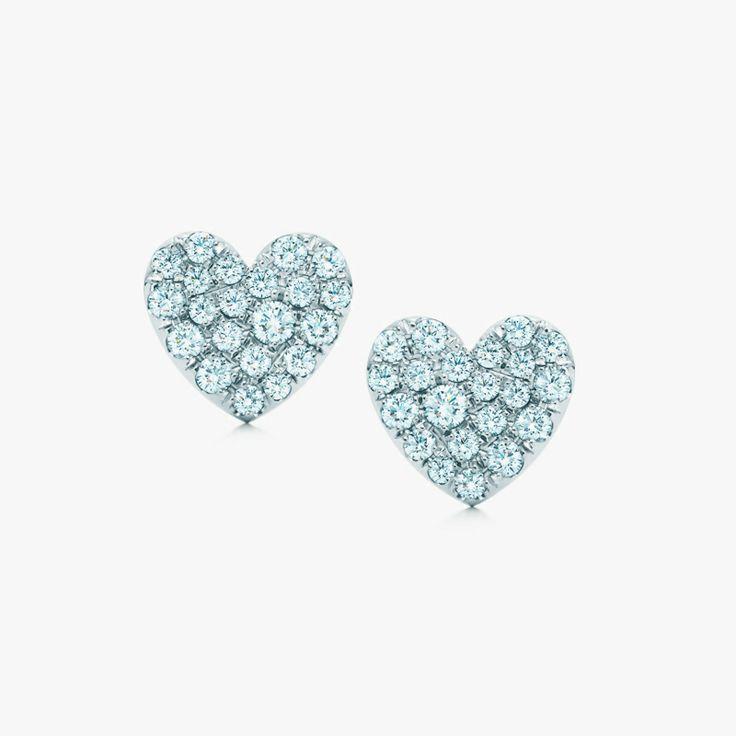 Heart to heart. Tiffany Metro heart earrings in 18k white gold with diamonds. #TiffanyPinterest