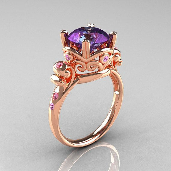 Modern Vintage 14k Rose Gold 2.5 Carat Alexandrite and light Pink Sapphire ring, Artmasters on Etsy