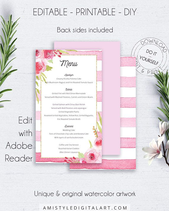 Floral Wedding Menu Printable, with beautiful watercolor striped background and hand-painted flowers in a beauiful romantic and glam style.This adorable wedding menu template listing is an instant download EDITABLE PDF so you can download it right away, DIY edit and print it at home or at your local copy shop by Amistyle Digital Art on Etsy