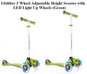 Check Globber 3 Wheel Adjustable Height Scooter with LED Light Up Wheels in Green, a pretty, adorable, and flexible scooter with T-bar handlebars.