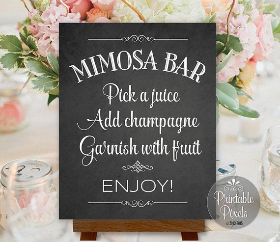 Mimosa Bar Sign Chalkboard Wedding Party Shower Printable Instant Download Ready…