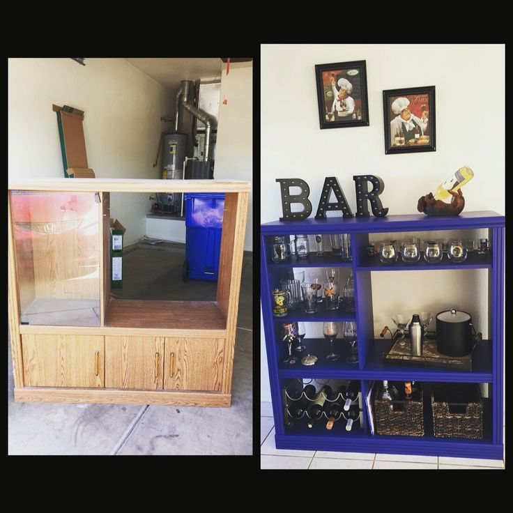 Old entertainment center turned into a bar !! Super easy.  #center #entertainment #super #turned