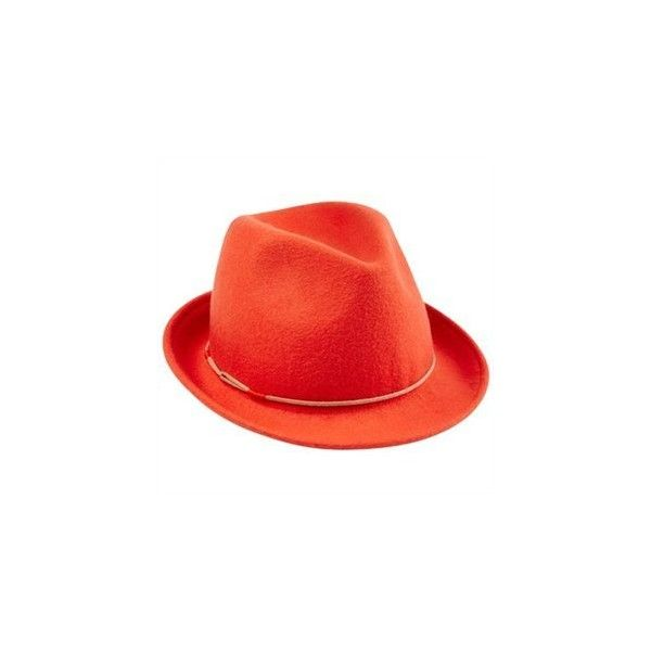 Wool Fedora Red Clay (€53) ❤ liked on Polyvore featuring accessories, hats, wool hat, fedora hat, red fedora hat, woolen hat and wool fedora hat