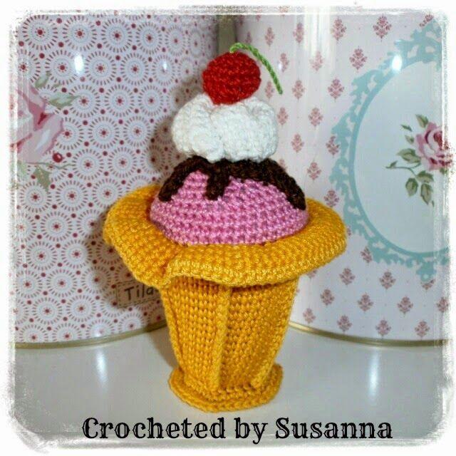 Crochet Icecream - Virkad Glass - Crocheted by Susanna