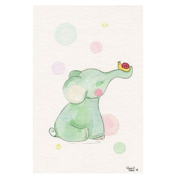 Original watercolor Painting  Elephant friend Snail  by MilkFoam, $40.00