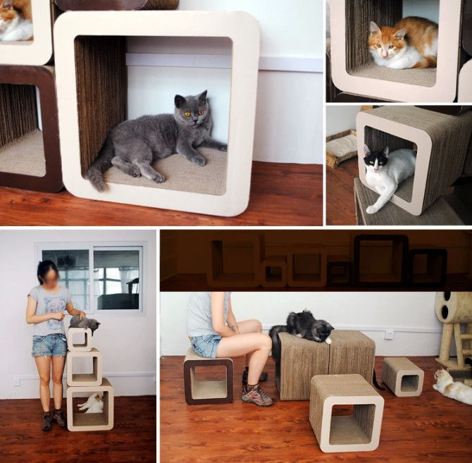 Delicieux Simple Unique Square Design Cat Scratcher Cardboard Cat House Sofa Furniture