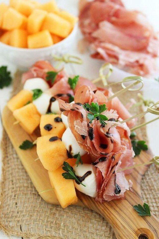 Prosciutto, Mozzarella and melon skewers. YUM.