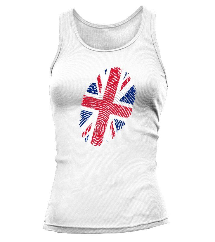 """- auch für Frauen: #Tanktop / #Shirt - """"Fingerabdruck-UnionJack"""" - nur bis 27.06.2015 - online unter diesem Link:  https://www.teezily.com/unionjack-women  LG DaiSign-Shirts  #UnionJack #Flagge #Fahne #England #Großbritannien #Queen #Teezily #DaiSign #Fingerabdruck #Finger #Abdruck"""