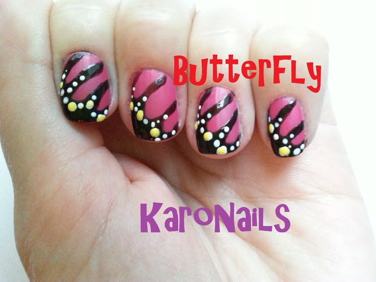 Butterfly Monarch nail art by KaroNails