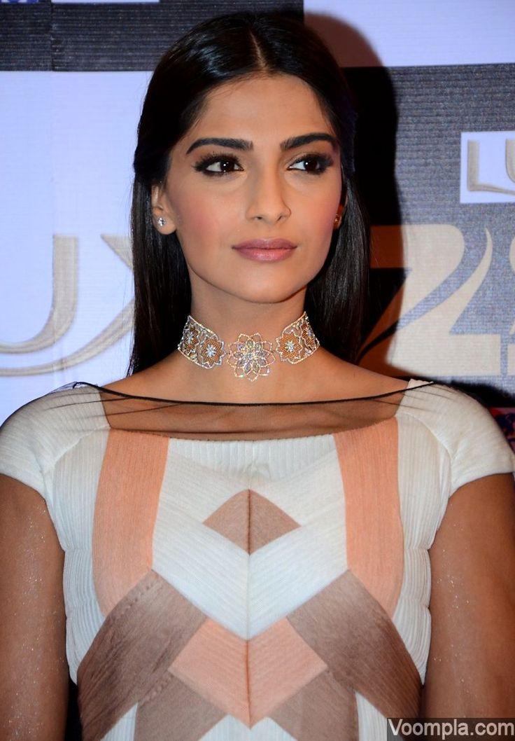 Sonam Kapoor looks elegant in a Vioneet Paris dress and a delicate choker by Nirav Modi - styled by sister Rhea and makeup by Arti Nayar. via Voompla.com